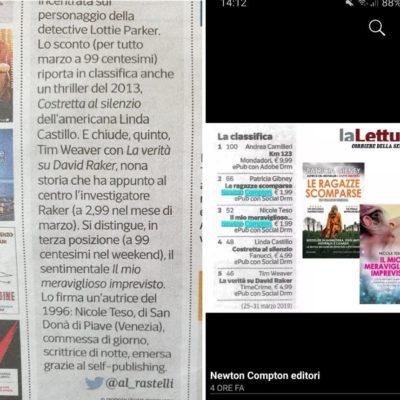 """Classifica """"la lettura"""" del Corriere della sera. Secondo posto per """"il mio meraviglioso imprevisto"""""""