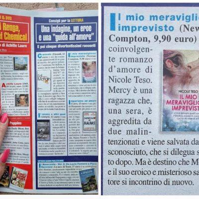 """Inserzione dedicata a """"Il mio meraviglio imprevisto"""" sulla rivista DiPiù."""